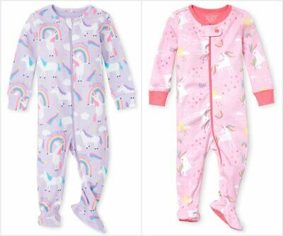 NWT The Childrens Place Unicorn Rainbow Girls Stretchie Footed Sleeper Pajamas