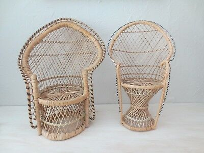 2 Wicker Chair Peacock Doll House Rattan Hollywood Regency FAN Small TOY PAIR