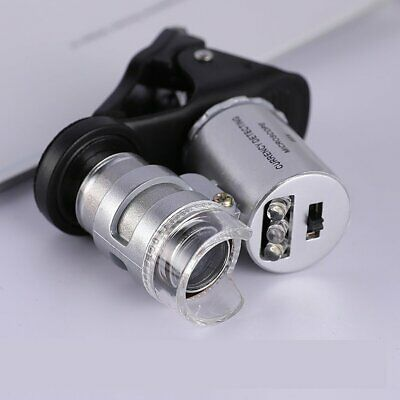 60X Mobile Adapter magnifier with lamp 60 Times Portable Jewelry FG#