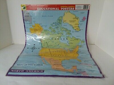 "2 Teaching Tree Poster Card Stock North and South America Wall Maps 17"" x 22"""