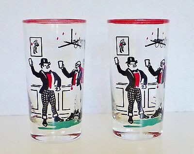 2 Vintage Libbey Pickwick Dickens Highball Tumbler Glass Cocktail Bar Red Green