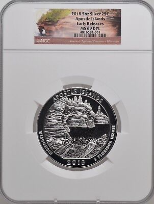 2018 5oz SILVER 25C Apostle Islands NGC MS 69DPL Early Releases must see!