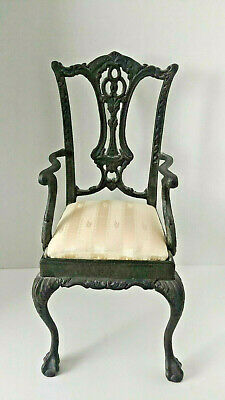 Antique Old Cast Iron Doll Chair/Salesman Sample Cast Iron Chair 17""
