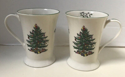 2 Spode Christmas Tree TALL FOOTED Coffee Cups Mugs by Pimpernel