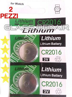x 2 PZ PILA CR2016 BOTTONE PILE BATTERIA LITIO 3V LITHIUM OROLOGIO CALCOLATRICE