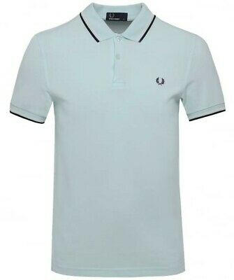4371629d1 BNWT Fred Perry M3600 Polo Shirt De La Mar Sky Blue M RRP £65 Tipped