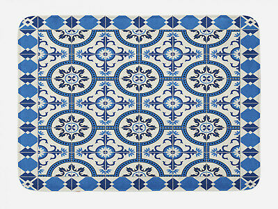 Blue and White Bath Mat Arabesque Art Non-Slip Plush Mat 29.5 X 17.5 Inches