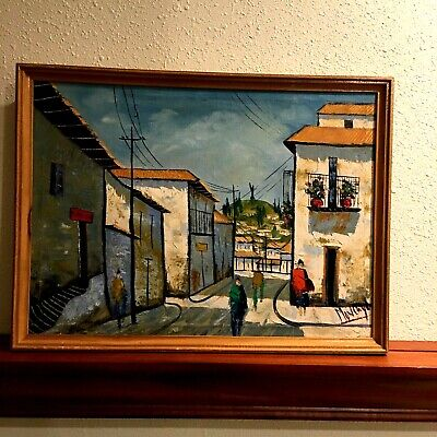 Oil Painting By Moncayo Oil On Canvas Mid Century Signed