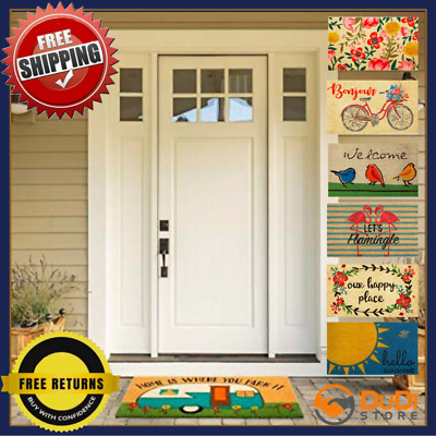 Front Door Mat Indoor Outside Outdoor with Non Slip Backing Modern 18 x 30 Cute
