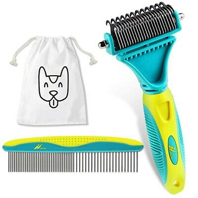 Deshedding Tool 2 Sided Professional Grooming Rake & Large Pet Comb & More!