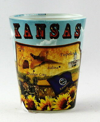 Kansas Map Collage  Shot Glass Rtp