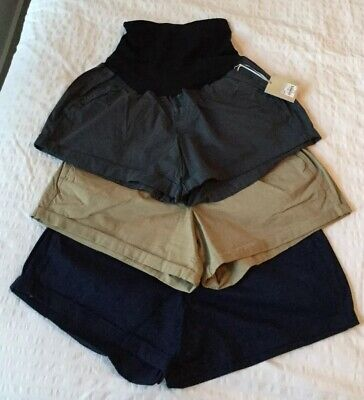 NWT Lot Of 3 Maternity Shorts a:glow Chino Pregnancy Kohls Size 18 Belly Panel