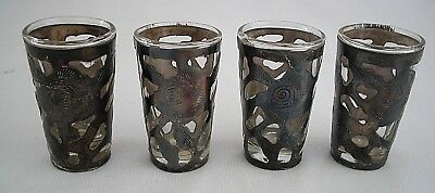 Set Of 4  Vintage Mexico Sterling Silver Cut Out Shot Glasses Signed