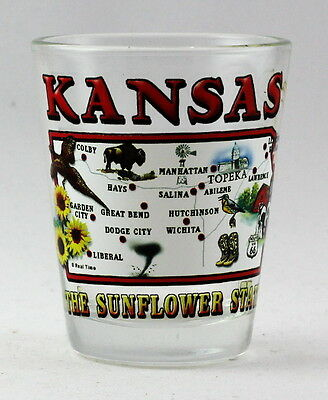 Kansas Map Design Clear Shot Glass Rtp