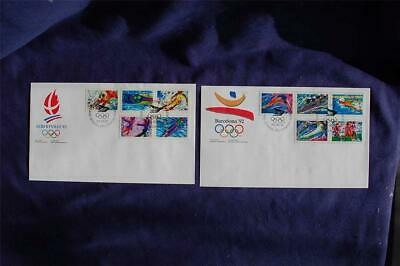 1992 Olympic Games 42c Stamps 2 FDCs Canada Post Cachet Sc#1399-403,1414-18 CA17
