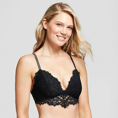 a0d0879a7d0 Gilligan   O Malley Lace Triangle Bralette Wire-Free Lightly Lined Black XS  NWT