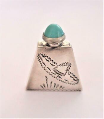 Vintage Antique MEXICO Sterling Silver & Turquoise Miniature Perfume Bottle