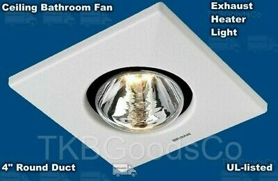 BATHROOM EXHAUST CEILING FAN Heater Light Toilet White Home Ventilation Vent