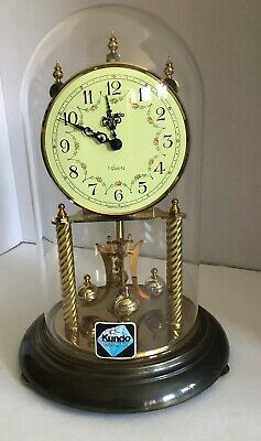 Kundo Anniversary Clock Glass Dome West Germany Kieninger Obergfell Battery