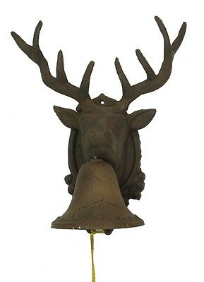 CAST IRON-  Large Deer Buck Head BELL Rustic Brown Wall Mount Lodge Decor