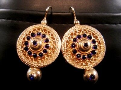 Pair Of Pompous Antique Gilt Silver Sapphire Earrings, Amazing Decoration!!!