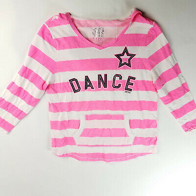 Justice Girls Top Hooded Bling Dance Pink Striped Size 20