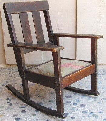 Vintage Antique Arts & Craft Craftsman Child's Rocker Rocking Chair Oak