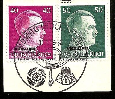 German Occupation Of Ukraine Hitler Head Overprinted Stamps At Rowno Wolhyn Wwii