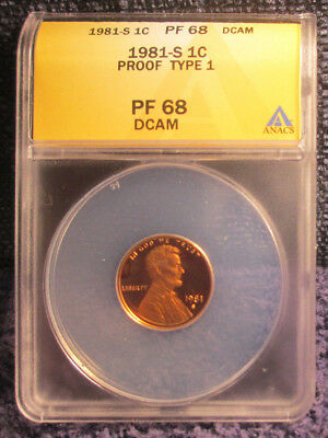 1981-S Proof Type 1 Lincoln Cent ANACS PF 68 Red DCAM