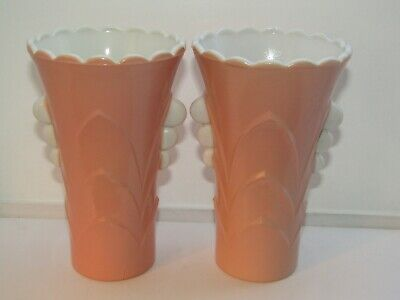 2 VTG FIRE KING AMERICAN ARTWARE GLASS PINK ART DECO VASES by ANCHOR HOCKING