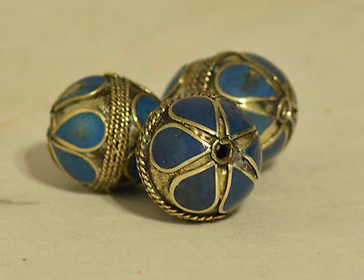 Beads Middle Eastern Lapis Blue Oval Brass Round Beads Handcrafted 3 Lot
