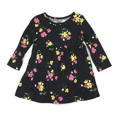 30bfb9d45 NWT Old Navy Infant Girls Long Sleeve Black Floral Dress Size 12-18M