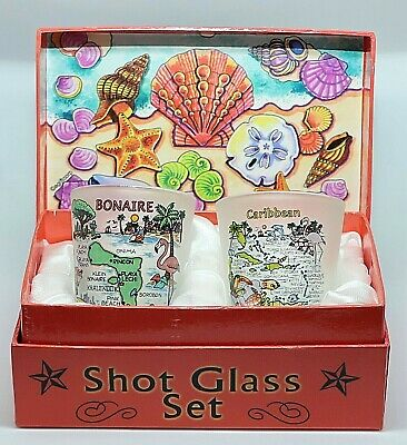 Bonaire Shells On Shore Boxed Shot Glass Set (Set Of 2)