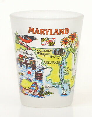 Maryland Map Frosted Shot Glass Shotglass