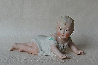 Antique German Bisque Piano Baby Small Doll Figurine Grafenthal Mark