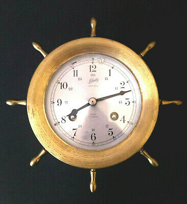 Vintage Aug. Schatz & Sohne Nautical Ships Bell Clock, 7Jewels 8 Day