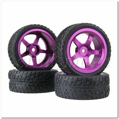RC 1:10 On-road Car Rubber Tyre & Purple Aluminum 5-Spoke Wheel Rim Pack of 4