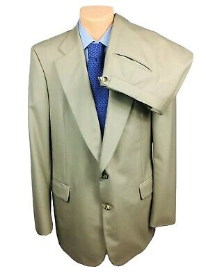 Paul Stuart Tan 2 Button Wool Suit Size Mens 46XL Extra Long Pants 40x34 EUC
