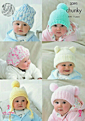 """""""COPY""""   King Cole-3391    Baby / Child Knitting Pattern for Hats  Chunky Yarn"""
