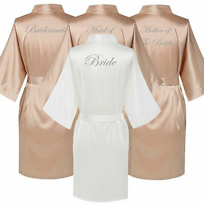 Champagne Satin Wedding Bride Bridesmaid Robe Maid of Honor Motther Team Gown