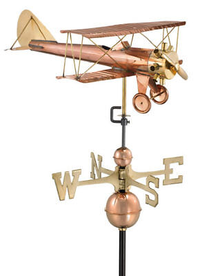 Large Bi Plane Copper Weathervane