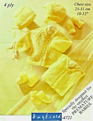 """""""COPY""""  Hayfield-4721 Premature Baby Clothes Knit Pattern  4 Ply"""