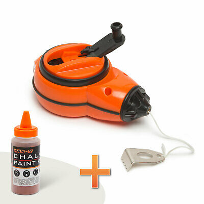 11111 Handy Chalk Line Reel 30 M with Metal Hook Red Paint Powder Paint Refiller
