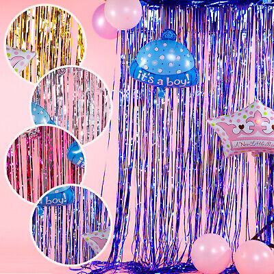 Backdrop Shimmer Foil Metallic Tinsel Curtain Fringe Window Party Decor New