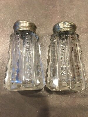 Antique Zipper Cut Glass Crystal Salt and Pepper Shakers with Ornate Silver Lids