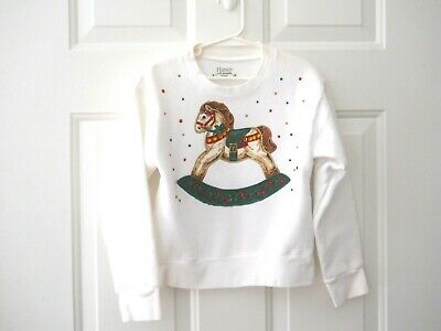 Girl's Appliqued Christmas Rocking Horse Sweatshirt Size Small White with Horse