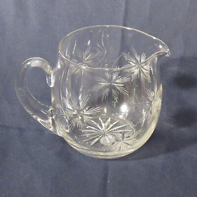 """VTG Crystal Pitcher w/ Etched Starburst Design, 8"""" Tall, Applied Handle Clear"""