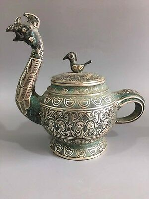 Chinese Warring States bronze hand-made silver-plated cock jug teapot Decoration