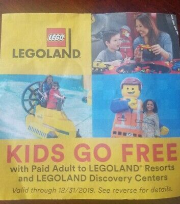 Legoland Florida California KIDS FREE TICKET Email Code Only Expires 12/31/2019