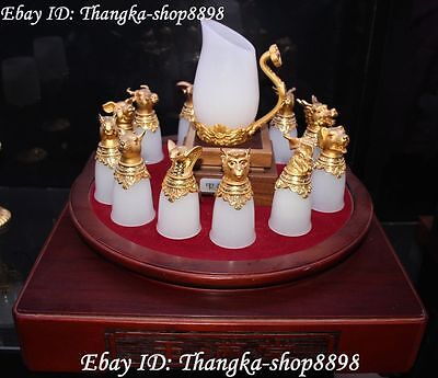 China Natural White Jade Inlay Metal 12 Zodiac Head Drinking Cup With Kettle Set